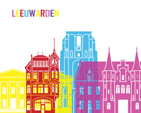 leeuwarden: Leeuwarden skyline pop in editable vector file