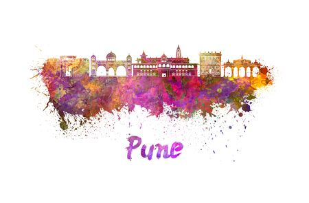 pune: Pune skyline in watercolor splatters with clipping path