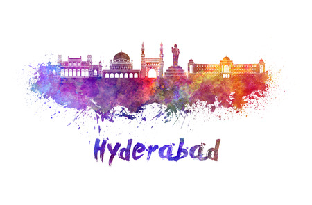 hyderabad: Hyderabad skyline in watercolor splatters with clipping path
