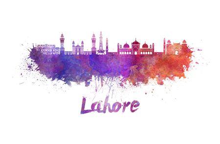 monumento: horizonte de Lahore, en las salpicaduras de la acuarela con el camino de recortes Foto de archivo