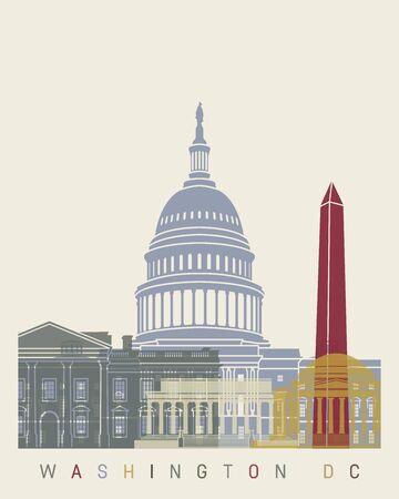 편집 가능한 벡터 파일에서 워싱턴 DC 스카이 라인 포스터 일러스트