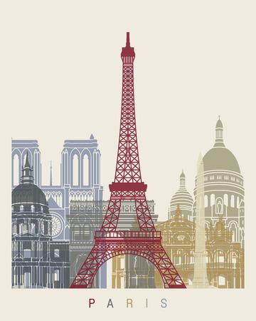 paris skyline: Paris skyline poster in editable vector file Illustration