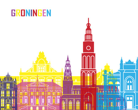 groningen: Groningen skyline pop in editable vector file