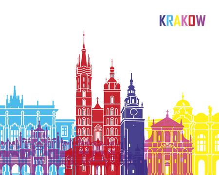 pop art background: Krakow skyline pop in editable vector file