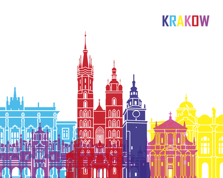Krakow skyline pop in editable vector file