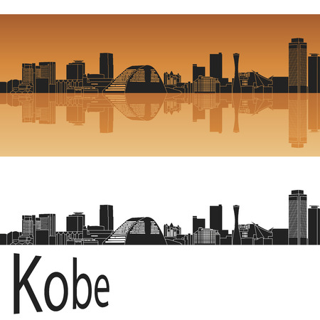 Kobe skyline in orange background in editable vector file