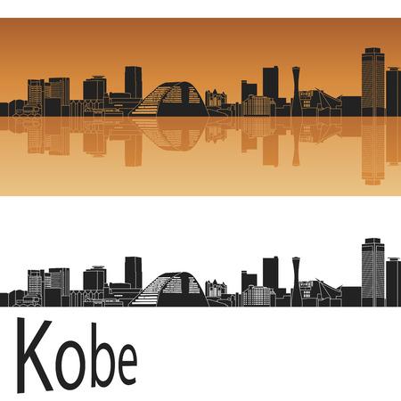 kobe: Kobe skyline in orange background in editable vector file