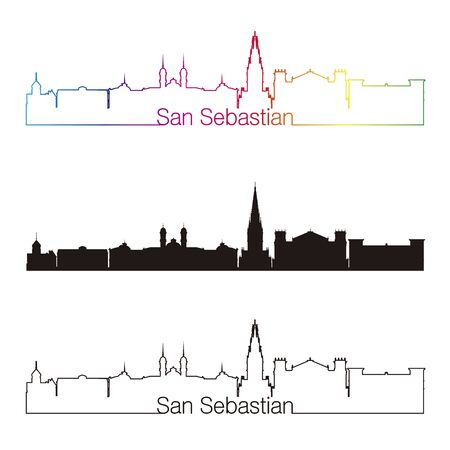 san sebastian: San Sebastian skyline linear style with rainbow in editable vector file Illustration
