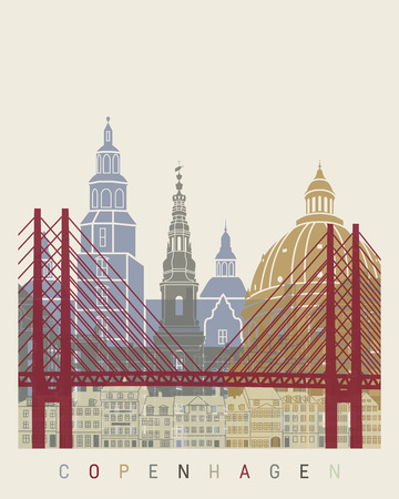 Copenhagen skyline poster in editable vector file
