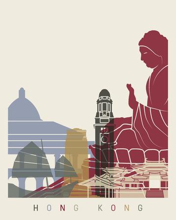 hong kong skyline: Hong Kong skyline poster in editable vector file Illustration