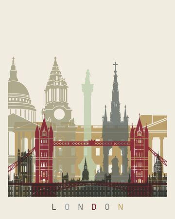 London skyline poster in editable vector file