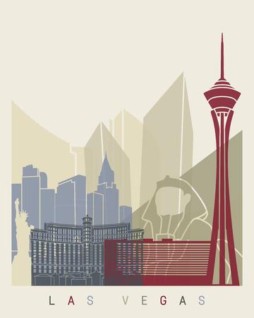 las vegas: Las Vegas skyline poster in editable vector file