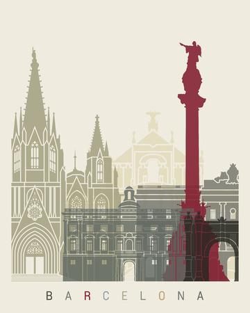 barcelona: Barcelona skyline poster in editable vector file Illustration