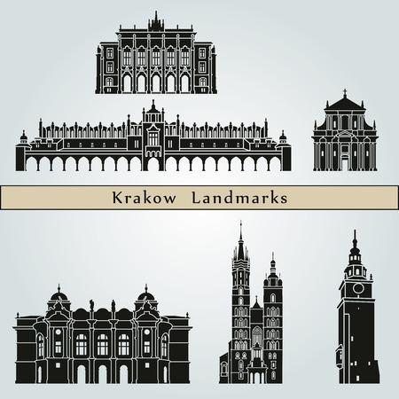 krakow: Krakow landmarks and monuments isolated on blue background in editable vector file Illustration