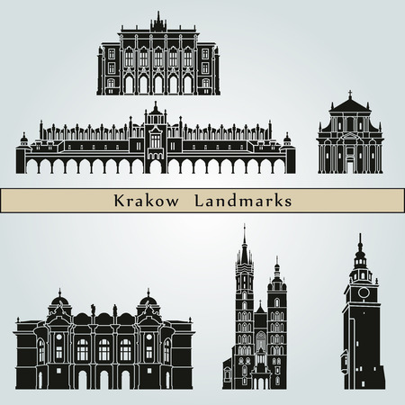 Krakow landmarks and monuments isolated on blue background in editable vector file Illustration