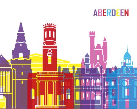 aberdeen: Aberdeen skyline pop in editable vector file