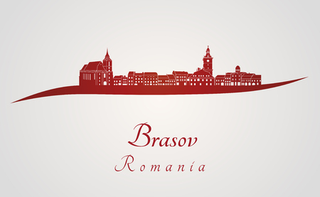 Brasov skyline in red and gray background in editable vector file