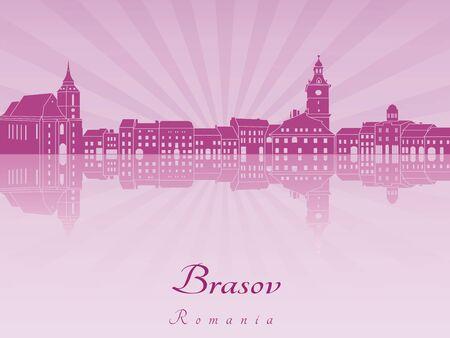 radiant: Brasov skyline in purple radiant orchid in editable vector file