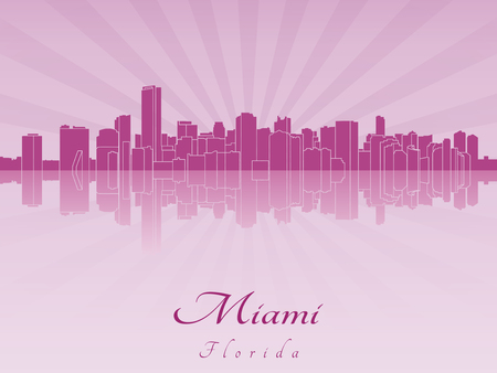 Miami skyline in purple radiant orchid in editable vector file Çizim