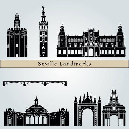los monumentos de Sevilla aislados sobre fondo azul en el archivo vectorial editable