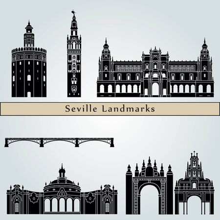 Seville landmarks and monuments isolated on blue background in editable vector file Illustration