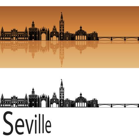 編集可能なベクトル ファイルにオレンジ色の背景でセビリア スカイライン  イラスト・ベクター素材