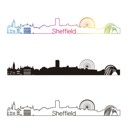 sheffield: Sheffield skyline linear style with rainbow in editable vector file