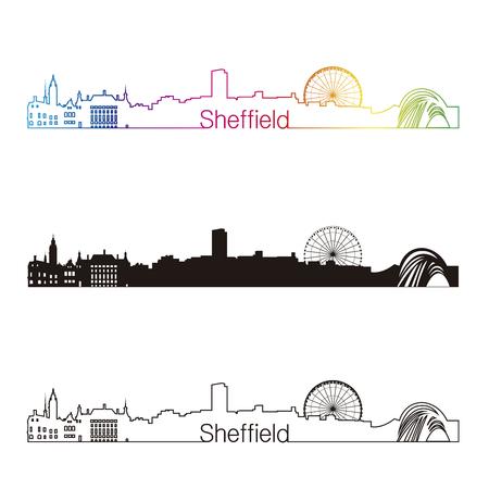 sheffield: Sheffield skyline linear style with rainbow in editable vector file