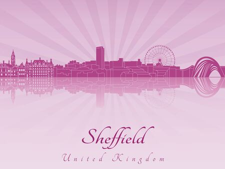 radiant: Sheffield skyline in purple radiant orchid in editable vector file