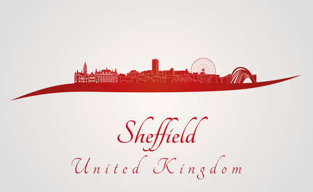 sheffield: Sheffield skyline in red and gray background in editable vector file