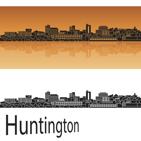 Huntington skyline in orange background in editable vector file