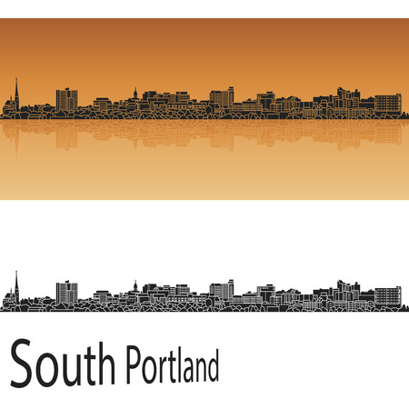 South Portland skyline in orange background in editable vector file