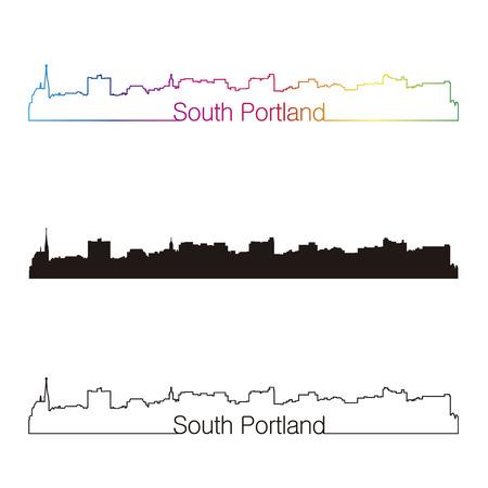 portland: South Portland skyline linear style with rainbow in editable vector file Illustration