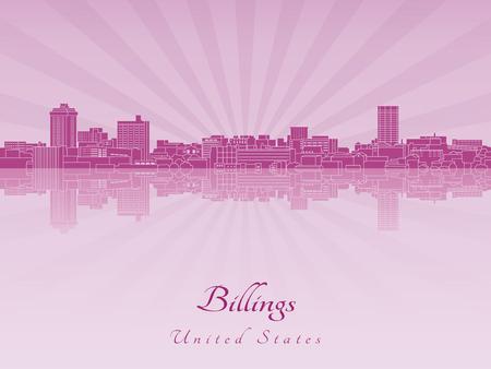 radiant: Billings skyline in purple radiant orchid in editable vector file Illustration