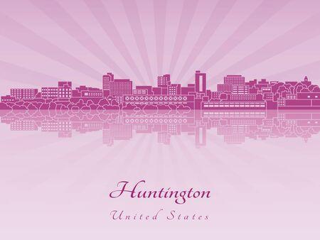 radiant: Huntington skyline in purple radiant orchid in editable vector file Illustration