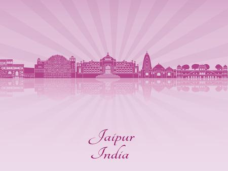 radiant: Jaipur skyline in purple radiant orchid in editable vector file