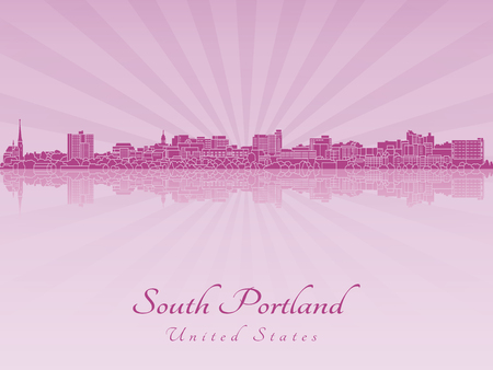 radiant: South Portland skyline in purple radiant orchid in editable vector file Illustration