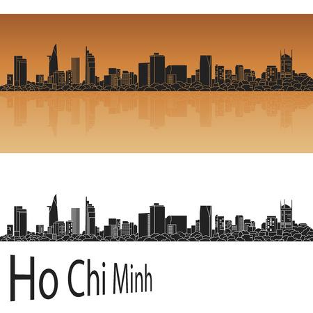 編集可能なベクトル ファイルにオレンジ色の背景に、ホーチミン スカイライン
