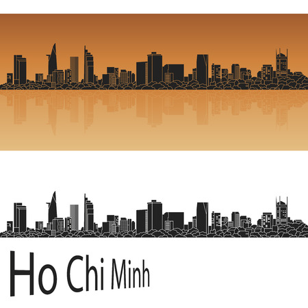 Ho Chi Minh skyline in orange background in editable vector file Ilustracja