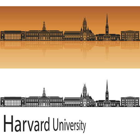 harvard university: Harvard University skyline in orange background in editable vector file