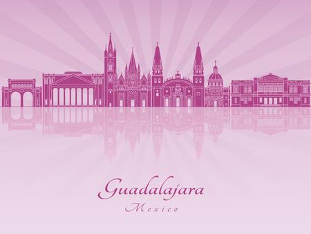 mexico city: Guadalajara skyline in purple radiant orchid in editable vector file