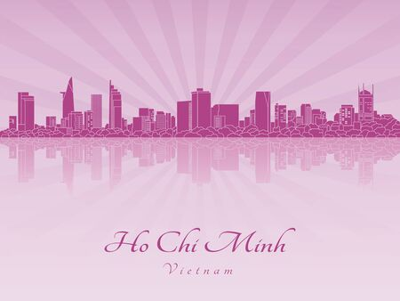 ho: Ho Chi Minh skyline in purple radiant orchid in editable vector file