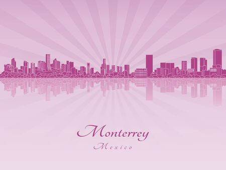 Monterrey skyline in purple radiant orchid in editable vector file
