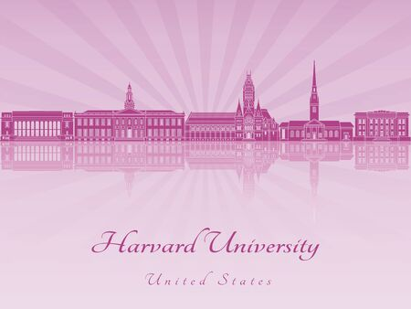 Harvard University skyline in purple radiant orchid in editable vector file 向量圖像