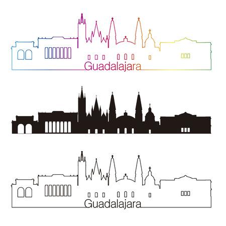 mexico city: Guadalajara skyline linear style with rainbow in editable vector file