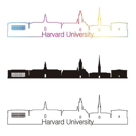 harvard university: Harvard University skyline linear style with rainbow in editable vector file Illustration
