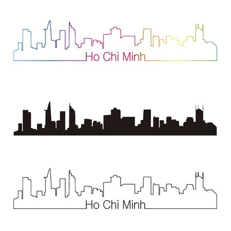 chi: Ho Chi Minh skyline linear style with rainbow in editable vector file Illustration