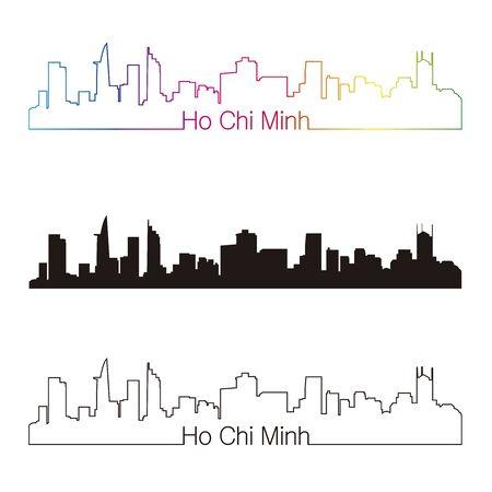 ho: Ho Chi Minh skyline linear style with rainbow in editable vector file Illustration