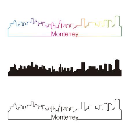 Monterrey skyline linear style with rainbow in editable vector file Illustration