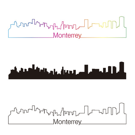 Monterrey skyline linear style with rainbow in editable vector file Illustration